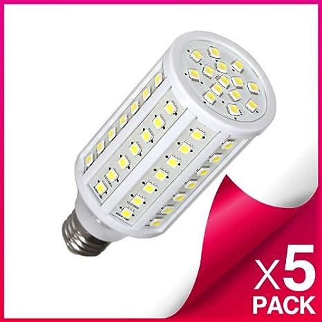 PACK de 5 Bombillas tipo Mazorca LED E27 18W, 102 LEDs, SMD5050, blanco cálido: Amazon.es: Iluminación