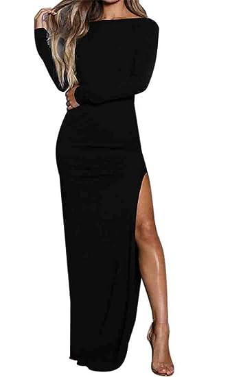 923ee07ec7 GRMO Women Slit Crew Neck Sexy Backless Long Sleeve Evening Party Maxi  Dress Black US XS