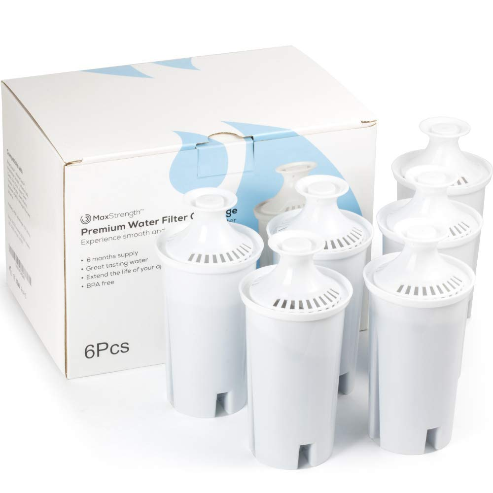 Max Strength Pro Replacement Water Filters 6pc Set Fits Brita Pitchers & Dispensers, 6 Month Filter Supply, BPA Free, Fits Brita Classic, Mavea Classic, Atlantis, Bella, Slim, Soho & Many More! by Max Strength Pro
