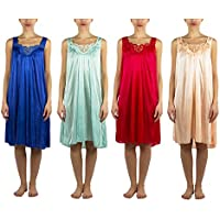 JOTW 4 Pack of Silky Lace Accent Sheer Nightgowns - Medium to 4X Available (9006)