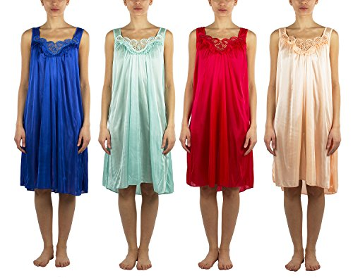 JOTW 4 Pack Of Silky Lace Accent Sheer Nightgowns - Medium To 4X Available (9006) (2X, Pack A)