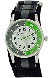 Reflex Boys Time Teacher Grey Stripe Fabric Velcro Strap Watch REFK0003