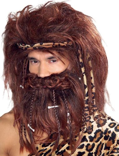 Caveman Costumes Wig (Rubie's Costume Bushy Caveman Beard and Wig Set, Brown, One Size)