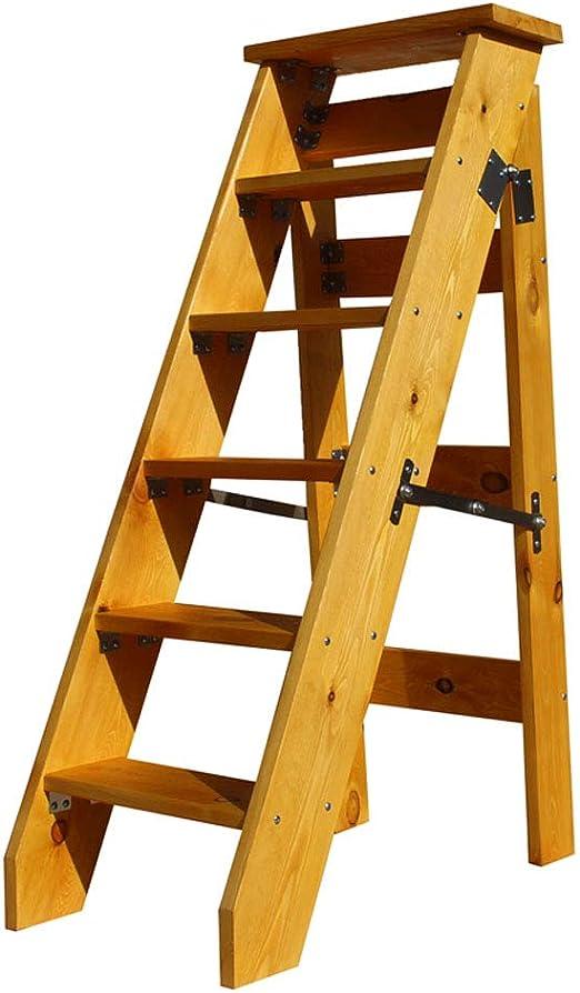 HYXI-Taburete Madera sólida Ensanchamiento del hogar 6 Pasos heces Plegable Escalera Silla de Escalera Planta Racks para escaleras portátiles Ligeros Jardín Herramientas-330 LB Capacidad: Amazon.es: Hogar