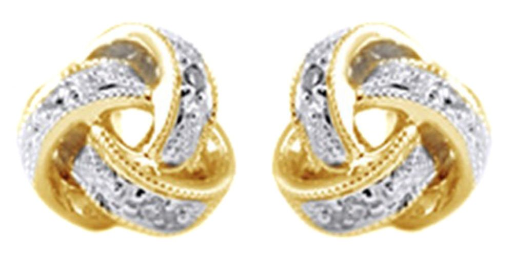 Round Cut White Natural Diamond Love Knot Stud Earrings In 14K Solid Yellow Gold