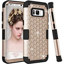 Galaxy S8 Case, KAMII [Diamond Series] Shockproof 3in1 Hard PC+Silicone Hybrid Studded Rhinestone Crystal Bling Diamond Full Body Protection Case Cover for Samsung Galaxy S8 (Golden+Black)