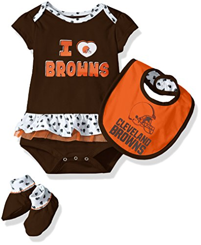 NFL Girls Newborn Cleveland Browns Team Love Onesie, Bib and Bootsies, 18 (Cleveland Browns Football Baby Onesie)