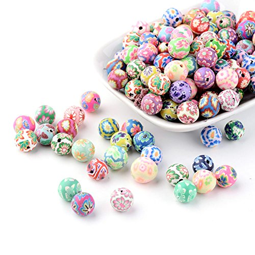 Kissitty 200-Piece Mixed Color Handmade Flower Pattern Polymer Clay Round Ball Beads 10mm for DIY Jewelry Making Clay Flower Spacer