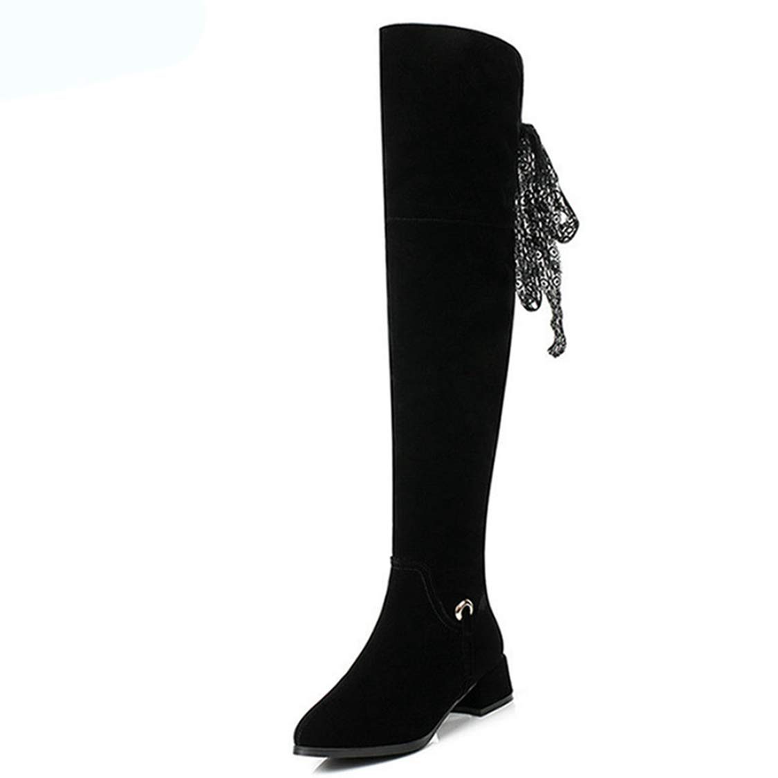 - DOSOMI Women's Flock Scrub Sexy Zipper Over The Knee Pullon Boot - Trendy High Square Heel shoes