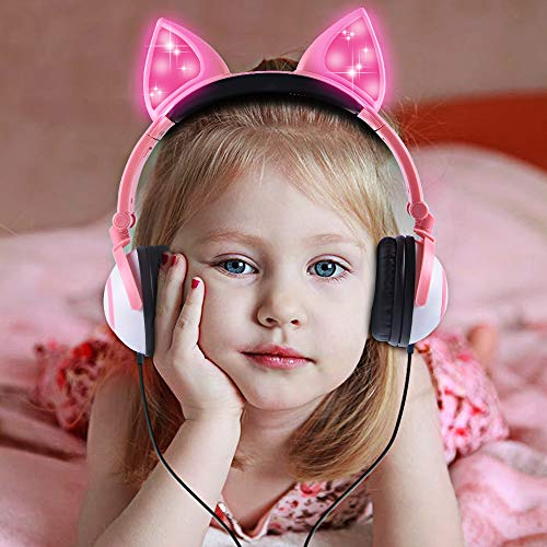 Esonstyle Kids headphones Over Ear with LED Glowing Cat Ears,Safe Wired Kids Headsets 85dB Volume Limited, Food Grade Silicone, 3.5mm Aux Jack, Cat-Inspired Purple Headphones for Girls (pink)