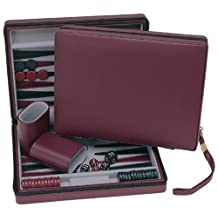 WE Games Burgundy Magnetic Backgammon Set with Carrying Strap -Travel Size