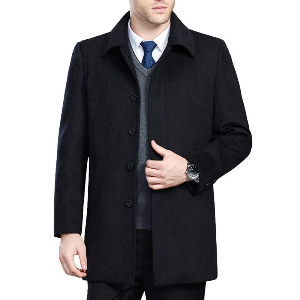 QQWE Männer Wollmischung Mantel Gentleman Anzug Kragen