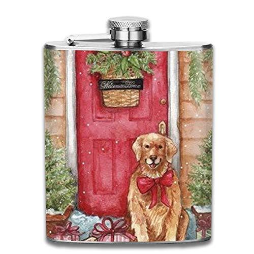 Kupik Portable 7 Oz Stainless Steel Flasks, Framed Golden Mini Flagon,Leather Packaging Jug Flagon for Men Women Gift