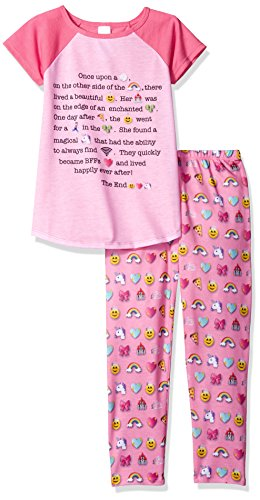The Children's Place Big Girls' 2-piece Pajama Set, Emoji (Sparkle Pink), L (10/12)