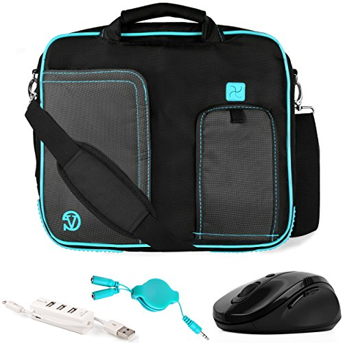 VanGoddy Pindar Blue Trim Laptop Bag w/ Accessories for Acer Aspire Series / One 10 / CloudBook / ChromeBook / Iconia 10