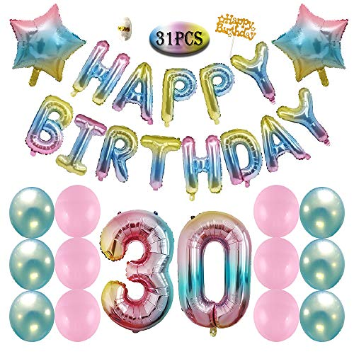 30th Birthday Decorations Party Supplies - Gradient Color