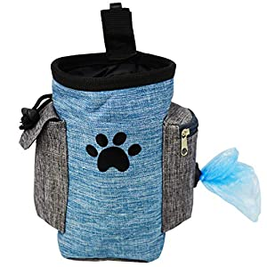 Dog Treat Pouch, Dog Treat Bag for Training Small to Large Dogs, Easily Carries Pet Toys, Kibble, Treats, Built-in Poop Bag Dispenser – Blue
