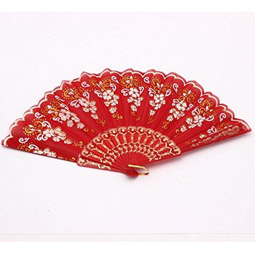 Red Spanish Style Dance Wedding Party Lace Silk Folding Hand Held Flower Fan
