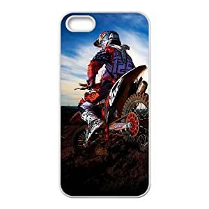 Motocross iPhone 5 5S teléfono celular caso blanco 8You120477