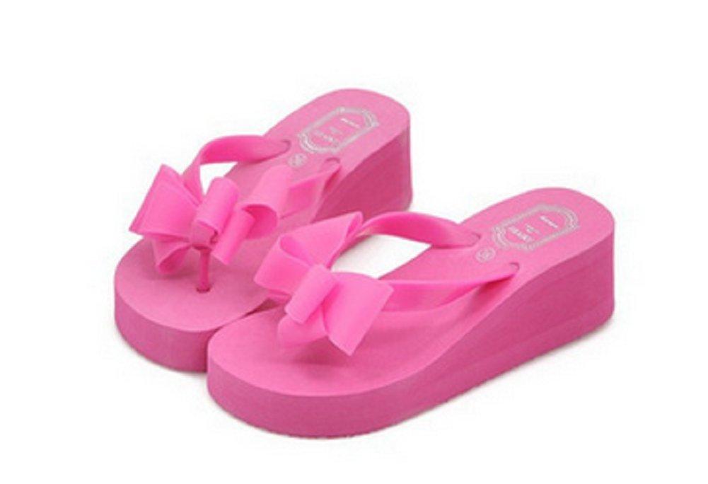JUST MODEL Women's Summer Knotbow Platform Flip Flops Thong Wedge Beach Sandals 6 B(M) US Rose