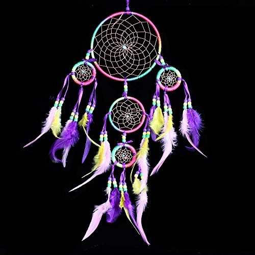 Handmade Dream Catcher Traditional Dreamcatcher Wall Hanging Decoration Colorful Feather Five Rings