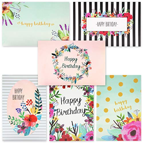 Juvale 48-Pack Bulk Happy Birthday Cards Box Set - 6 Unique Assorted Watercolor Floral Designs, Blank Inside with Envelopes Included, 4 x 6 Inches ()