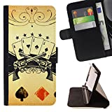 Graphic4You Poker Cards Tokens Thin Wallet Card Holder Leather Case Cover for Sony Xperia XZ