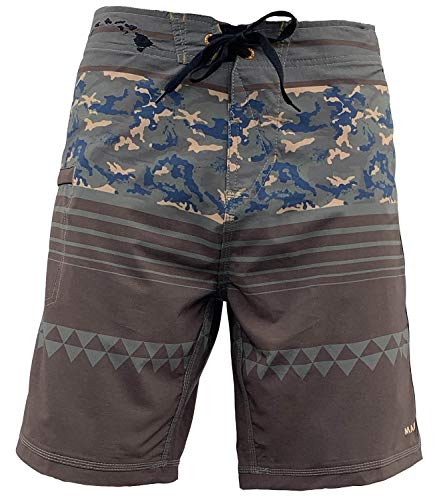 Hawaiian Lined Trunks Swim (Maui Rippers Beachboy Camo Boardshorts Swimsuit for Men | 4 Way Stretch Swim Trunks & Swimwear (32))