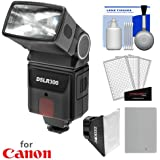 Precision Design DSLR300 High Power Auto Flash with NB-10L Battery + Softbox Diffuser Kit for PowerShot G15, G16, G1 X Mark II, SX50, SX60 HS Digital Camera