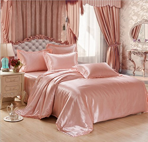 Simonshop 4pcs Super Soft Bedding Set King Queen Size Silk Comforter Bedclothes Duvet Cover Set  ...