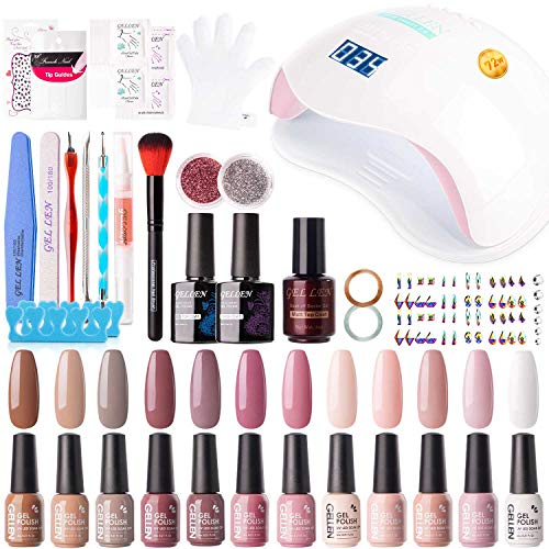 Gellen 12 Colors Gel Nail Polish Starter Kit - with 72W UV/LED Nail Lamp Top Base Coat, Essential Home Manicure Tools Popular DIY Nail Art Designs Matte/Glitters/Rhinestones, Classic Nudes