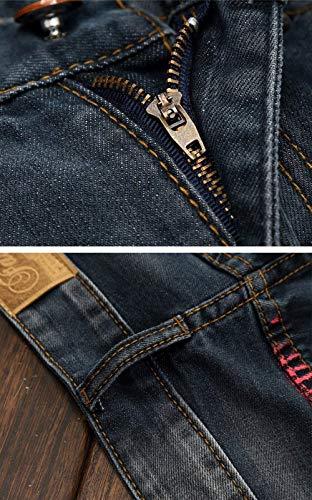 Slim Con Uomo Risvolto Casual Clubwear Fit Denim Pantaloni Stile Alsbild Semplice In Jeans Dritti q8H5AxwF