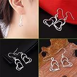 Alicenter(TM) Women 925 Sterling Silver Double Love Heart Dangle Earrings Charm Jewelry
