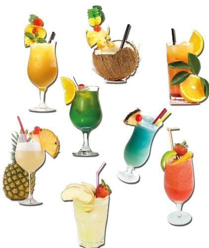 Cocktail Magnete - 8er-Set Karibische Cocktails Lust auf Karibik - Kühlschrankmagnete mit Motiv für Magnettafel Magnetboard Pinnwand Memoboard Whiteboard - Original Magnete GUMA Magneticum