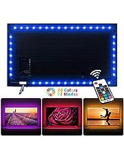 NEXVIN Luce per TV, Striscia 60 LED 2M per Retroilluminazione TV, Led Posteriore di Illuminazione, Kit RGB Nastri Led, Illuminazione a Fasce per TV PC con Telecomando per Decorazione Interno e Esterno