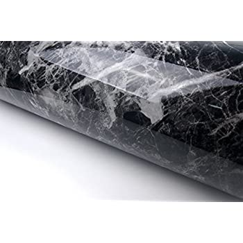 Black Grey Granite Look Marble Effect Contact Paper Film Vinyl Self Adhesive Peel-stick Counter Top