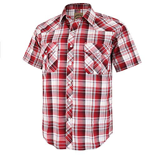Coevals Club Men's Short Sleeve Casual Western Plaid Snap Buttons Shirt (XL, 27# Red Plaid) (Mens Shirts Red Western)