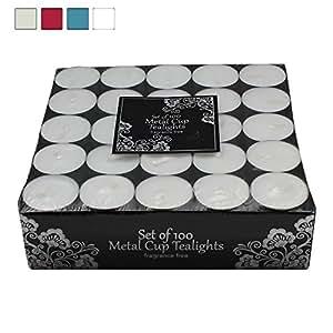 100 Tea Lights Set - White - Unscented Candles