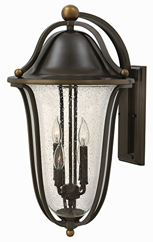 - Hinkley 2649OB Bolla - Four Light Outdoor Wall Lantern, Olde Bronze Finish with Clear Seedy Glass
