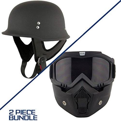 Outlaw T-75 German Style Flat Black Half Helmet with Outlaw 50 Nemesis Vintage - Large w/ 50 Outlaw Mask