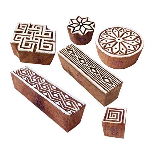 Retro Border Geometric Design Wood Stamps (Set of 6) ()