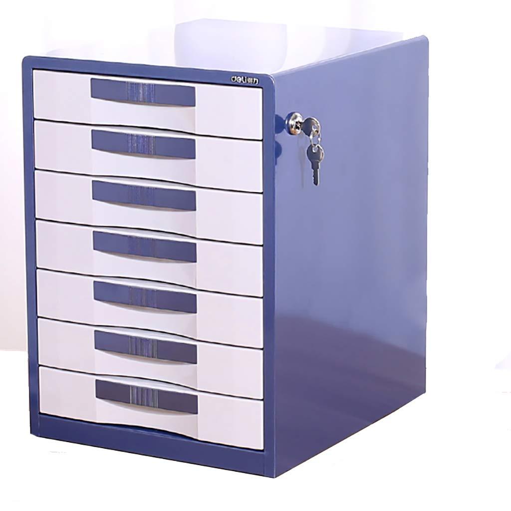 ファイルキャビネットメタルデスクトップロッカー7階ロック引き出しブルー/ブラウン (色 : A) B07MKR9WFV A