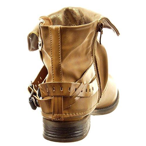 Sopily - Scarpe da Moda Stivaletti - Scarponcini biker alla caviglia donna lucide fibbia borchiati Tacco a blocco 2.5 CM - Cammello