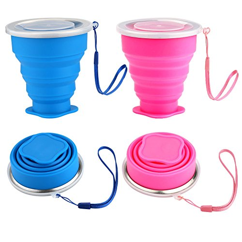 Silicone Collapsible Travel Cup Set, Accmor 2 Pack Foldable Expandable Cup(Blue & Pink), BPA Free FDA Approved Travel Mug for Camping Hiking Trip, -Eco Friendly,
