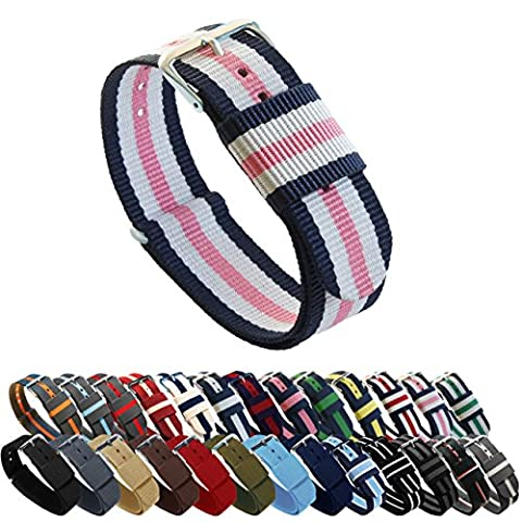 BARTON Watch Bands - Choice of Color, Length & Width (18mm, 20mm, 22mm or 24mm) - Navy/Pink/Ivory 18mm - Standard (Pink Tag Watch)