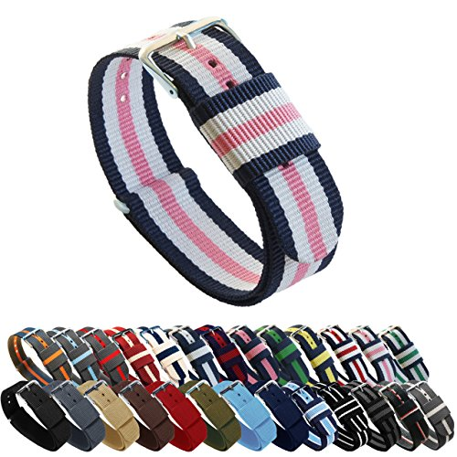 BARTON Watch Bands - Choice of Color, Length & Width (18mm, 20mm, 22mm or 24mm) - Navy/Pink/Ivory 22mm - Standard Length