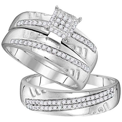 (Jewels By Lux 10kt White Gold His & Hers Round Diamond Cluster Matching Bridal Wedding Ring Band Set 1/2 Cttw Ring Size 7.5 )
