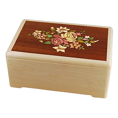 Box Marquetry (Wood Cremation Urn - Maple Floral Marquetry)