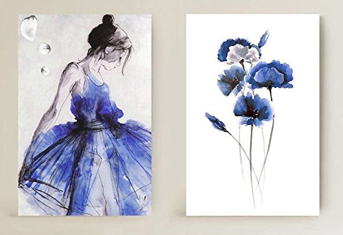 (Niwo ART (TM) - Blue Skirt Dancing Girl & Flower - Ballet Dancing Series. Modern Abstract Painting Reproduction. Giclee Canvas Prints Wall Art for Home Decor, Stretched and Framed Ready to Hang)