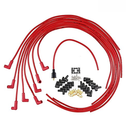 High Peformance 8mm Silicone Spark Plug Wires Set 90 Degree Boot for Chevy Plymouth Fury Dodge (Plug Wire Set 90 Boots)